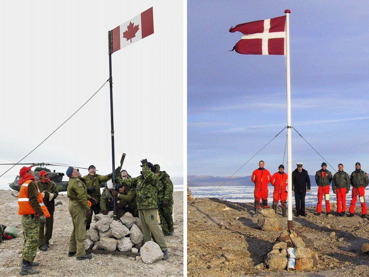 Hans-sziget, zászlófelvonások és ital-otthagyások (Fotó New York Times)